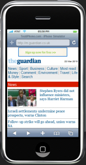Guardian Site on iPhone