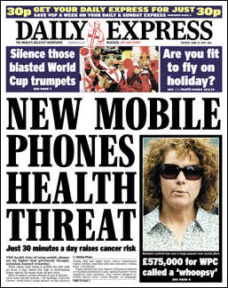 Mobiles cause Daily Express headlines