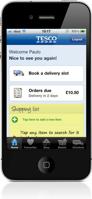Tesco grocery iPhone app